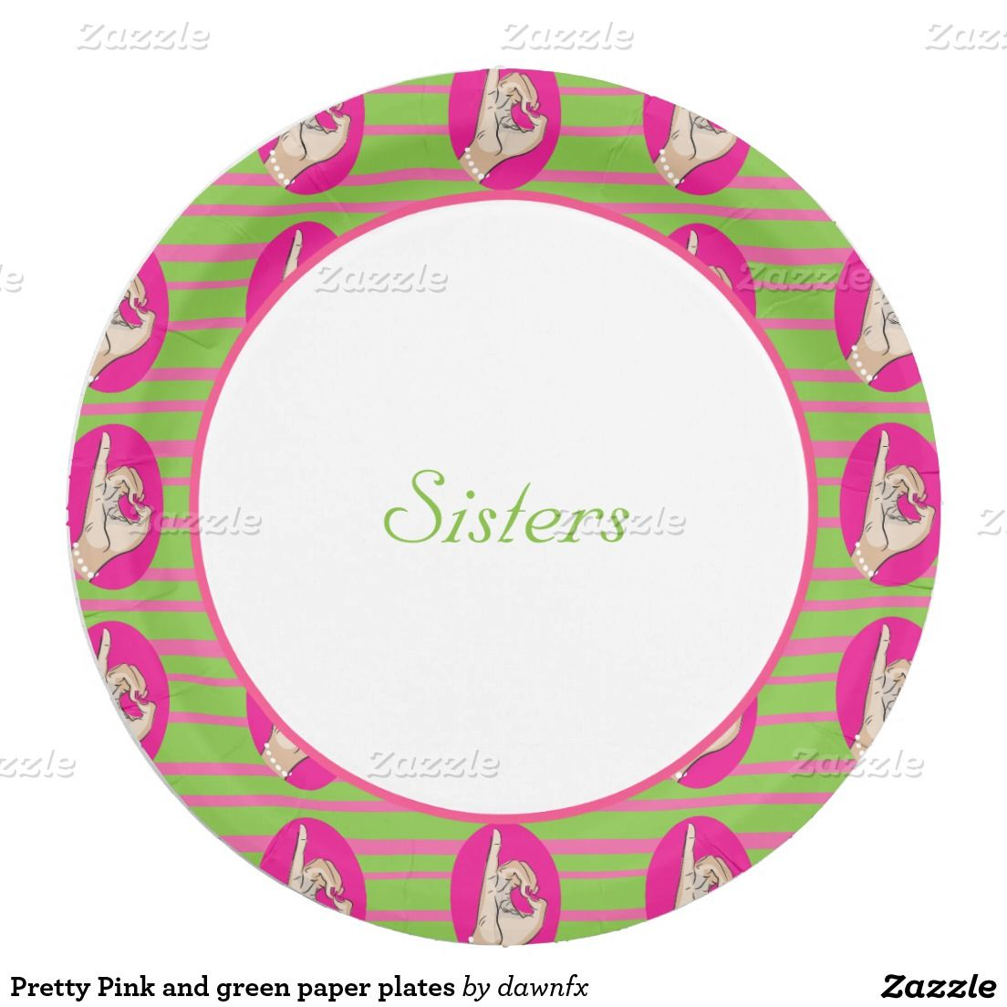 Pretty Pink and green paper plates 9 Inch Paper Plate