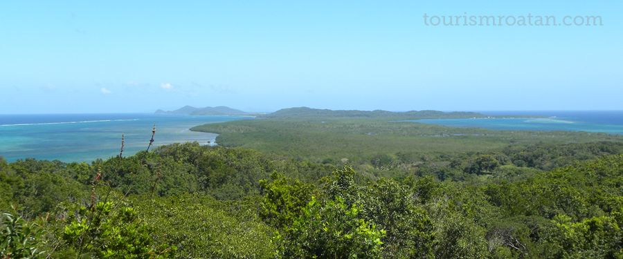 The eastern tip of Roatan with the islands of St. Helene & Barbareta in the distance