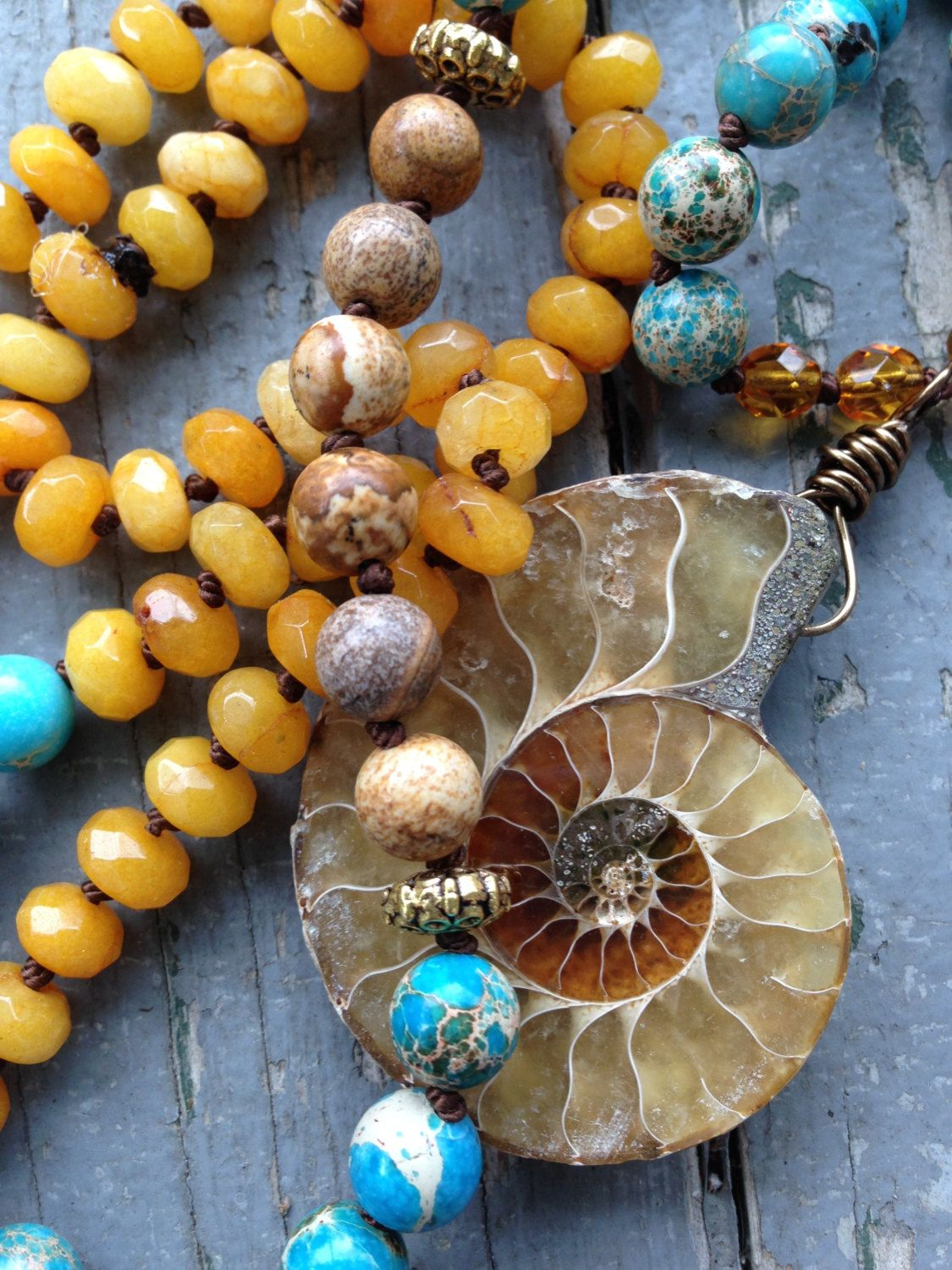Bohemian necklace Vibrant Sea Sediment Jasper beads hand knotted with Ammonite Pendant by SeeJanesBeads by SeeJanesBeads on Etsy