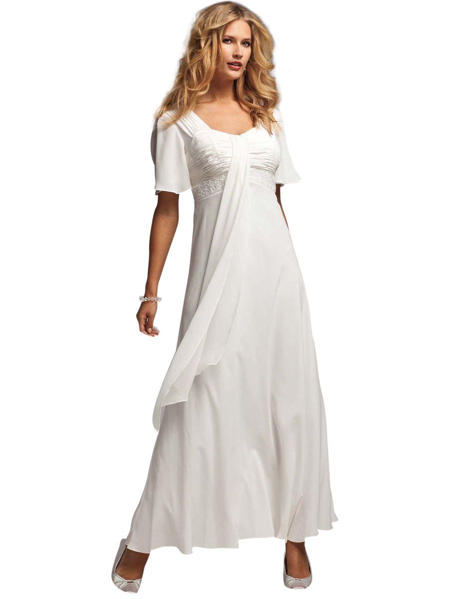 Flutter sleeve beaded empire waist gown plus size
