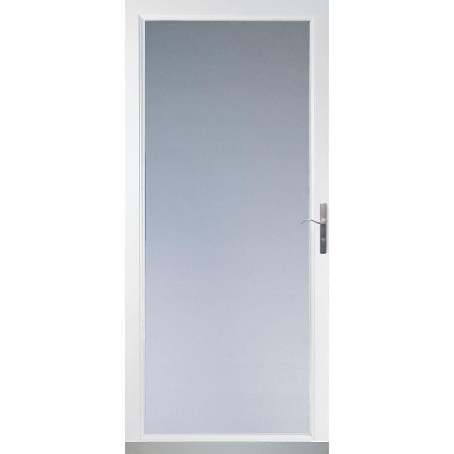 Lowes Com Larson 36 In X 81 In Secure Elegance Full View Laminated Security Glass Storm Door In White With Glass Storm Doors Security Storm Doors Storm Door