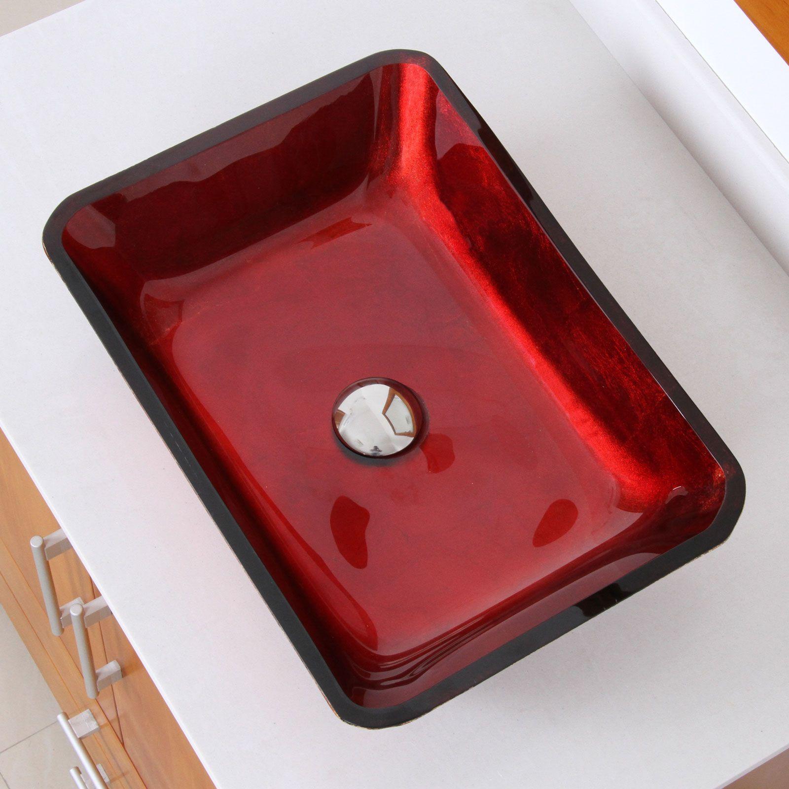Elite 1410 Rectangle Mahogany Tempered Glass Bathroom Vessel Sink