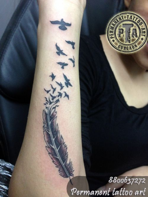 Feather Tattoo Feather Tattoo Design With Flying Birds Birds Tattoo Birds Tattoo Design With Feather Bird Ta Feather Tattoo Arm Feather Tattoos Neck Tattoo