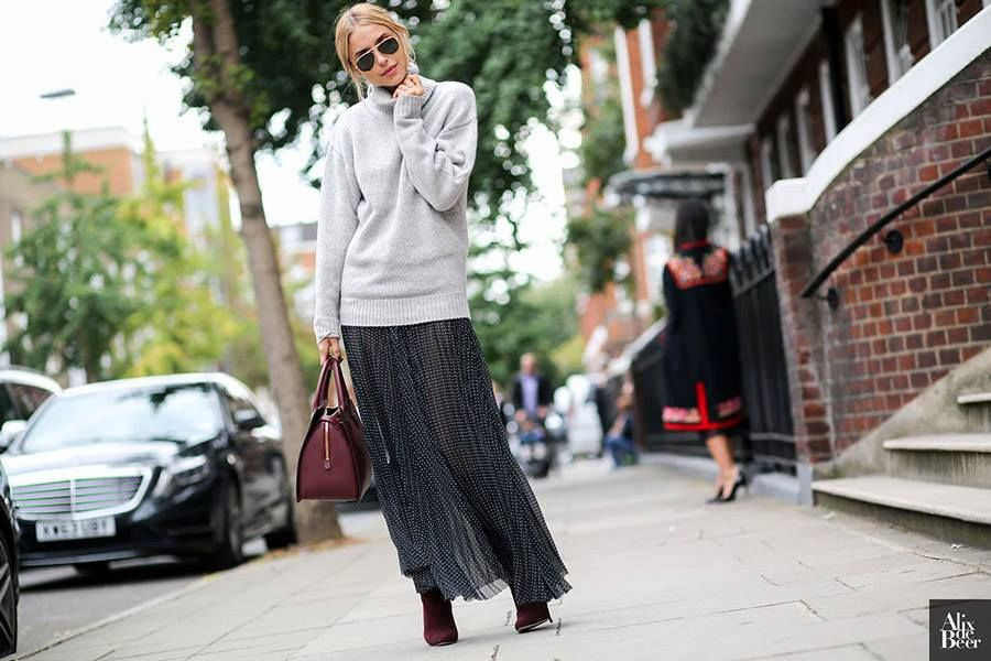 Look de Pernille wears the JOSEPH AW'14 cashmere roll neck and Silk stripe plisse skirt at London Fashion Week //  Knit and Skirt available here:http://bit.ly/1uQwXN2 & http://bit.ly/1oUd9Vd Read Pernille's blog post: http://bit.ly/1nZIIwA