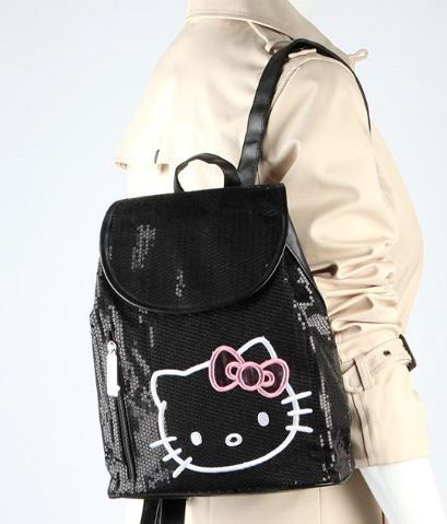 Black Sequin Backpack... #HelloKitty with a pink metallic bow!  For the stylish and active #HelloKitty fan.