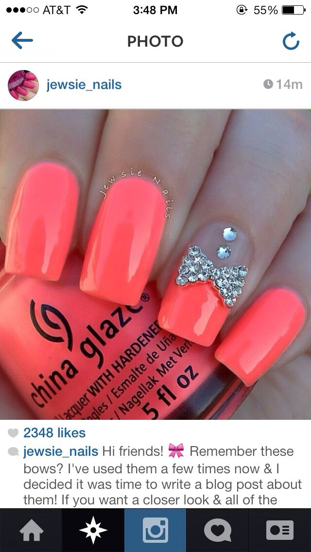 neon pink nails with diamond bow design | Nails | Pinterest | Neon ...