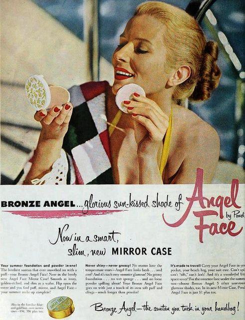 Pond's Angel Face Powder, June 1951. #vintage #beauty #makeup #1950s