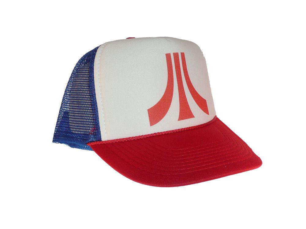 be5177f0dbe7c Vintage Atari video game hat Trucker Hat Mesh Hat Free Shipping red white  blue  Unbranded
