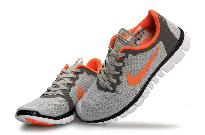 300694ddafdb Nike Free 3.0 V2 Mens Original Light Gray Platinum Silver Orange ...