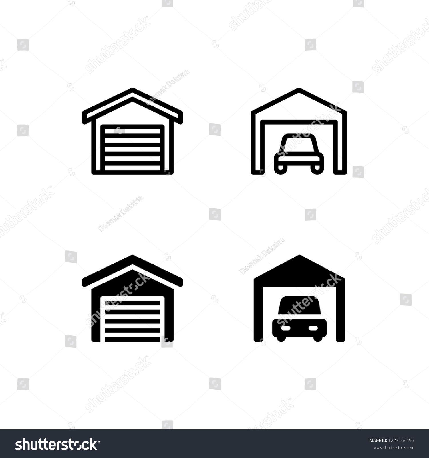 Garage Icon Design Garage Car House Home Parking Icon Logo Vector Symbol Set Sign Design Button Vector Icons Free Vector Logo Logo Design