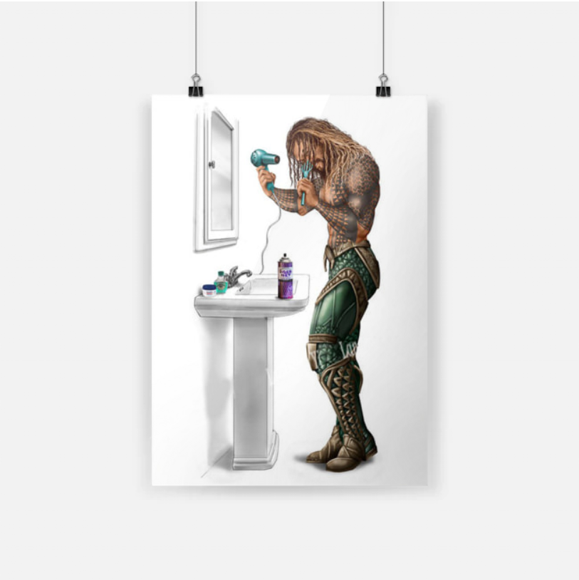Limited edition Superhero bathroom aquaman drying his hair poster