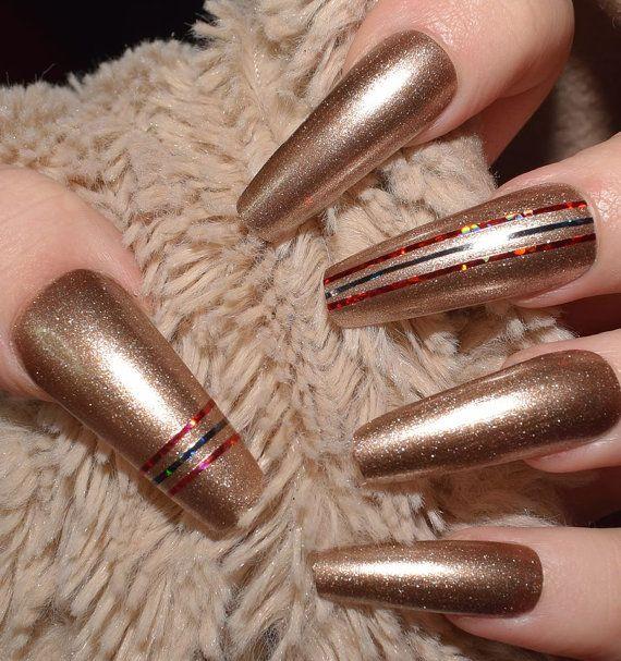 Gold Shimmer Fake Nails, Extra Long Coffin False Nails, Hand Painted ...