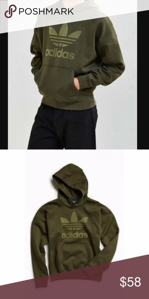 Adicolor New Adidas Brand Words Without Olive Hoodie Felt Green Nwot fgbyY67