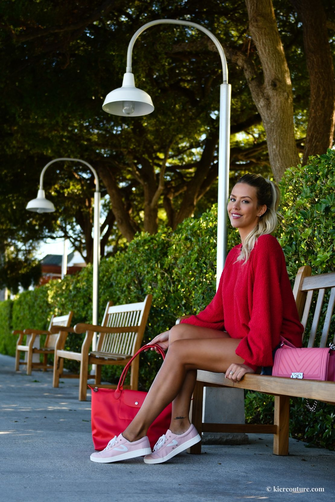 0e7082743cac12 Nylite50 by Tretorn - Kier Couture- pink sneakers and red long champ tote  with pink chevron Chanel Boy Bag. Florida Blogger in red free people friend  ...