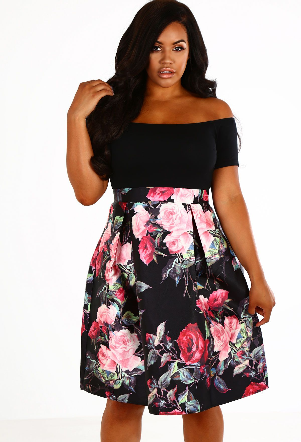 3461c385 Vamp up your winter occasion look with this gorgeous floral skater dress  from our Curve Collection