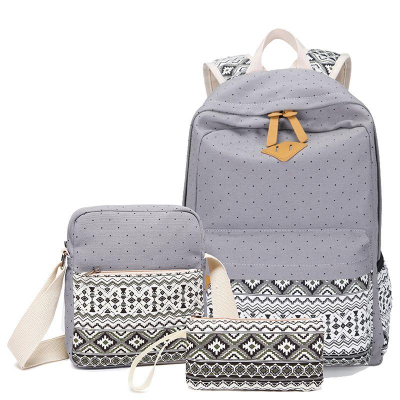 97a6db9b3002 Set Stylish Canvas Printing Backpack Women School Bags for Teenage Girls  Cute…