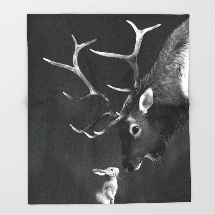 Elk and Rabbit Throw Blanket