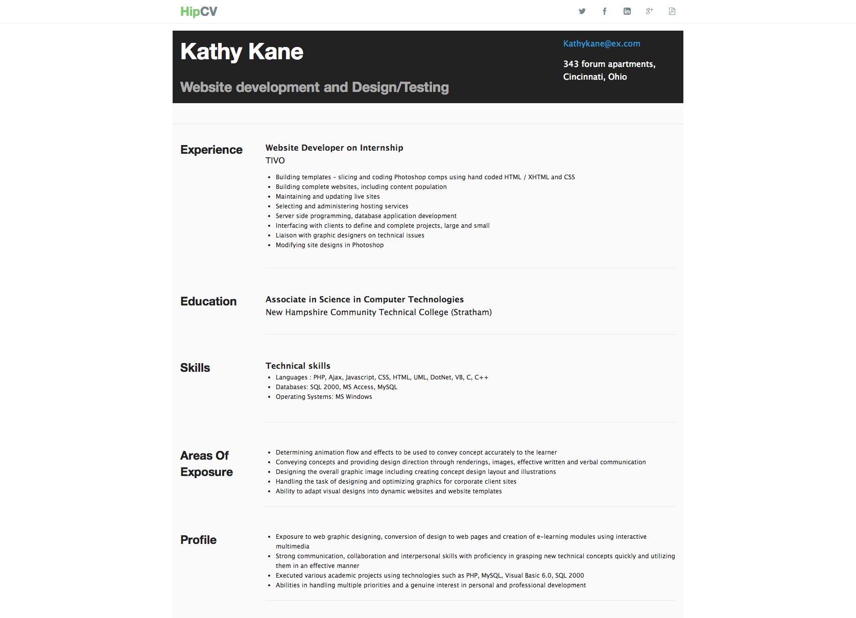 Resume example for freshers. Resume examples, Computer