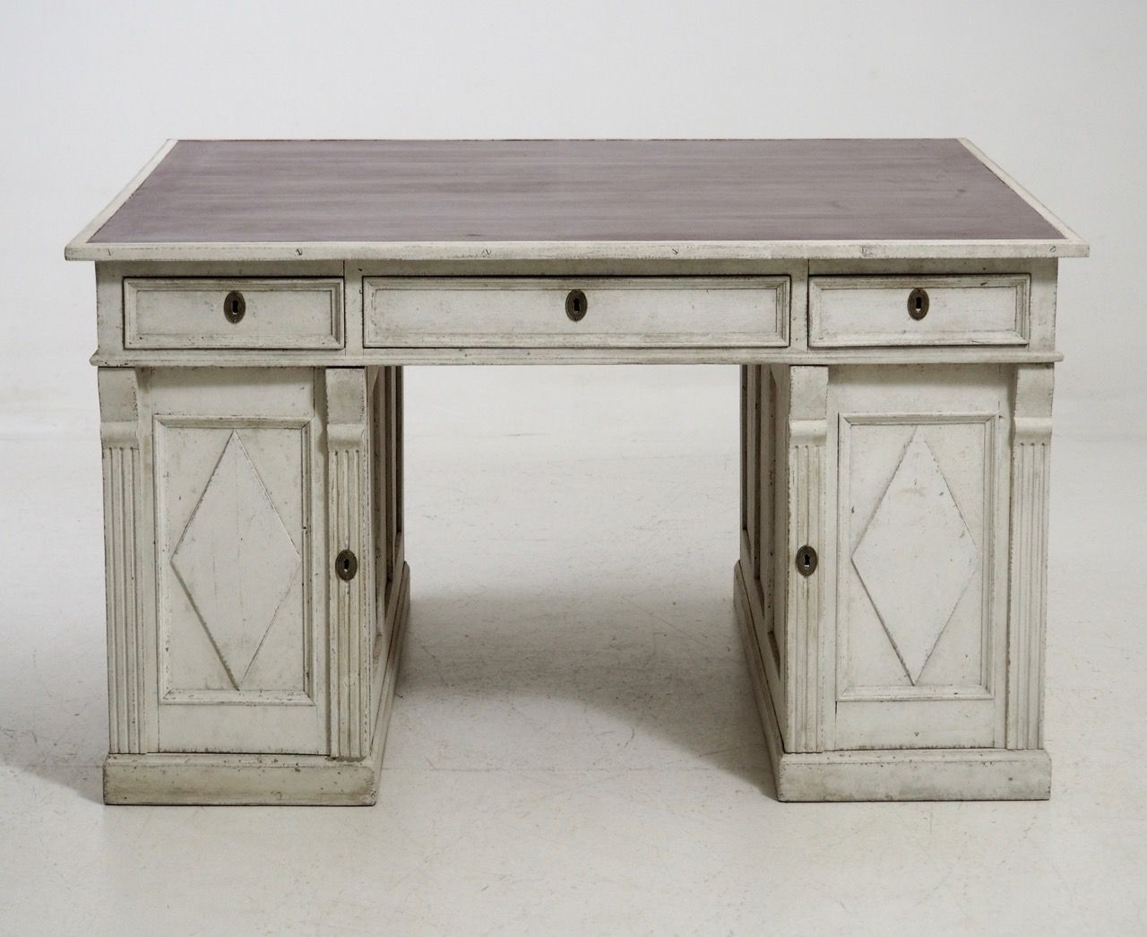 Antique Swedish Freestanding Partner's Desk - Antique Swedish Freestanding Partner's Desk Desks, Partners Desk