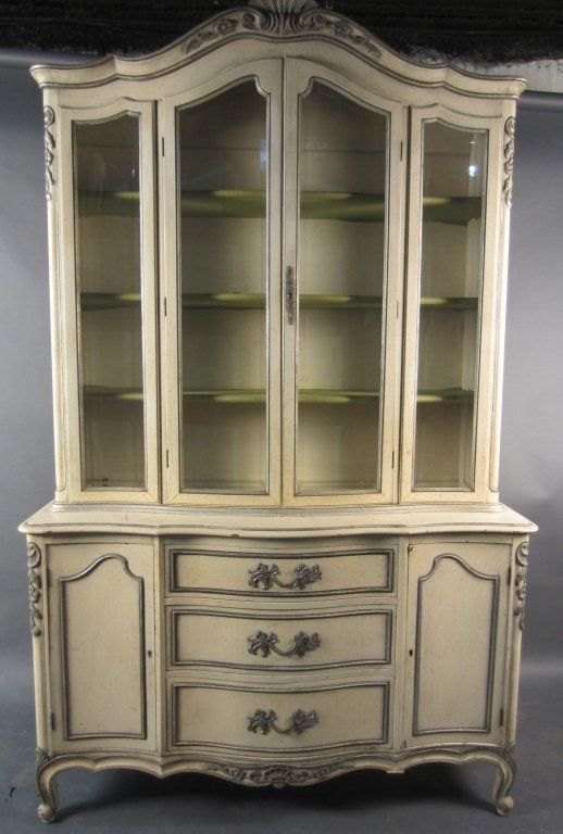 French Provincial China Cabinet Marked John Stuart Inc Height 85 Width 53