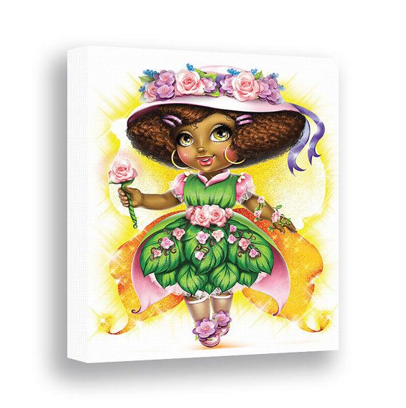 Girls wall art african american princess by pinwheelcanvasart rainbow baby  pinterest kids and also rh