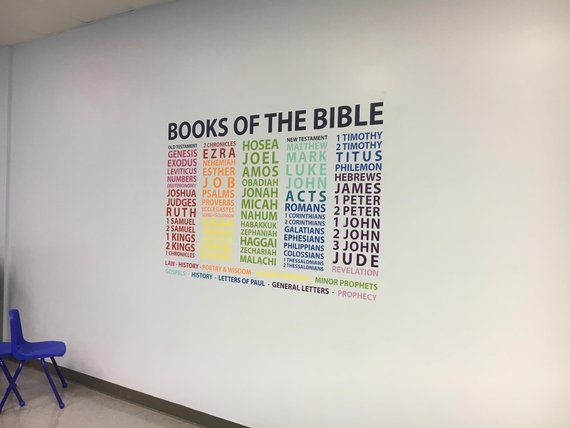 Books of the Bible - Wall decal - Youth Room - Church - Colorful - vinyl decor - Children's church, Sunday School, Christian School RE3152 images