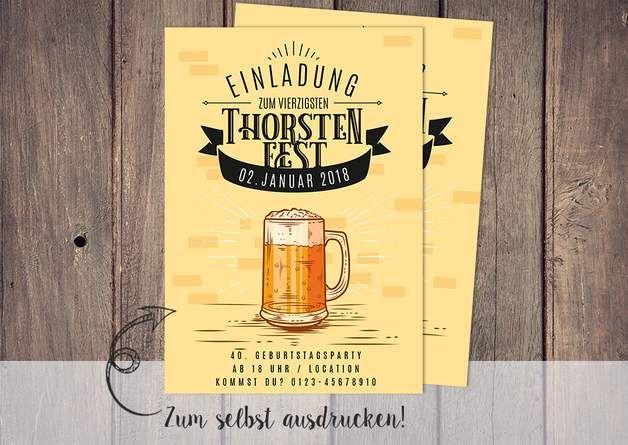 geburtstag einladung selbst drucken jubiläum bier