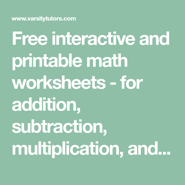 Free interactive and printable math worksheets - for addition ...
