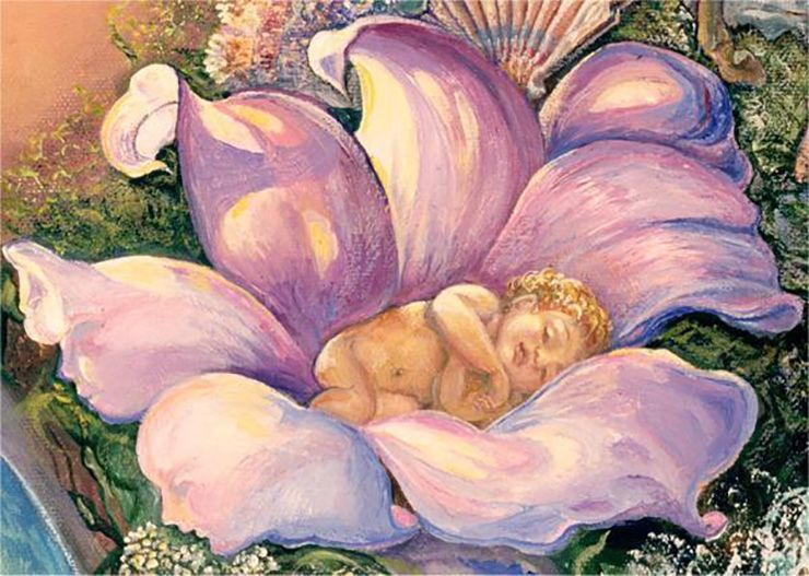"""""""Baby in Flower (Detail Prelude to a Kiss)"""" par Josephine Wall"""