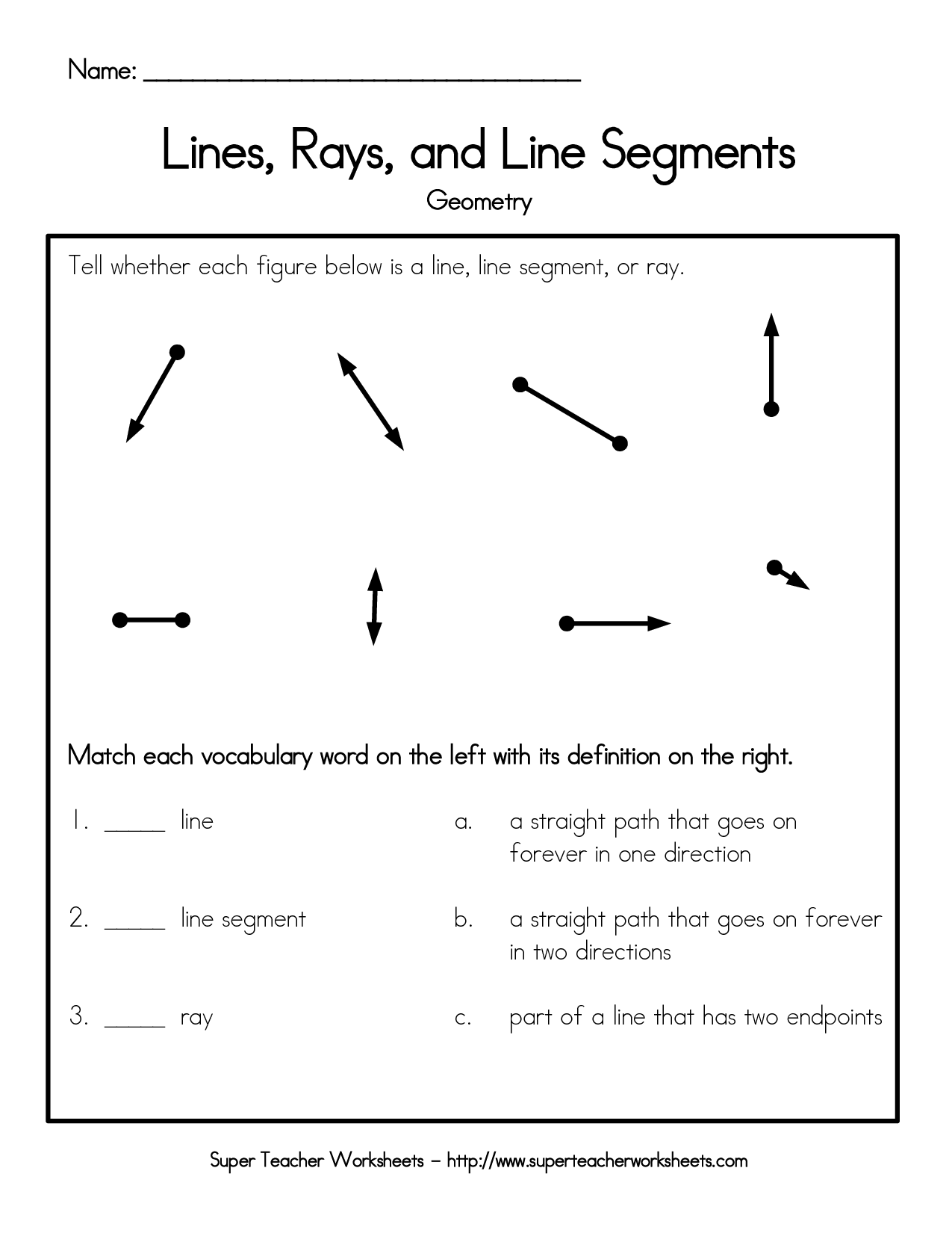 Lines Rays And Line Segments Worksheet