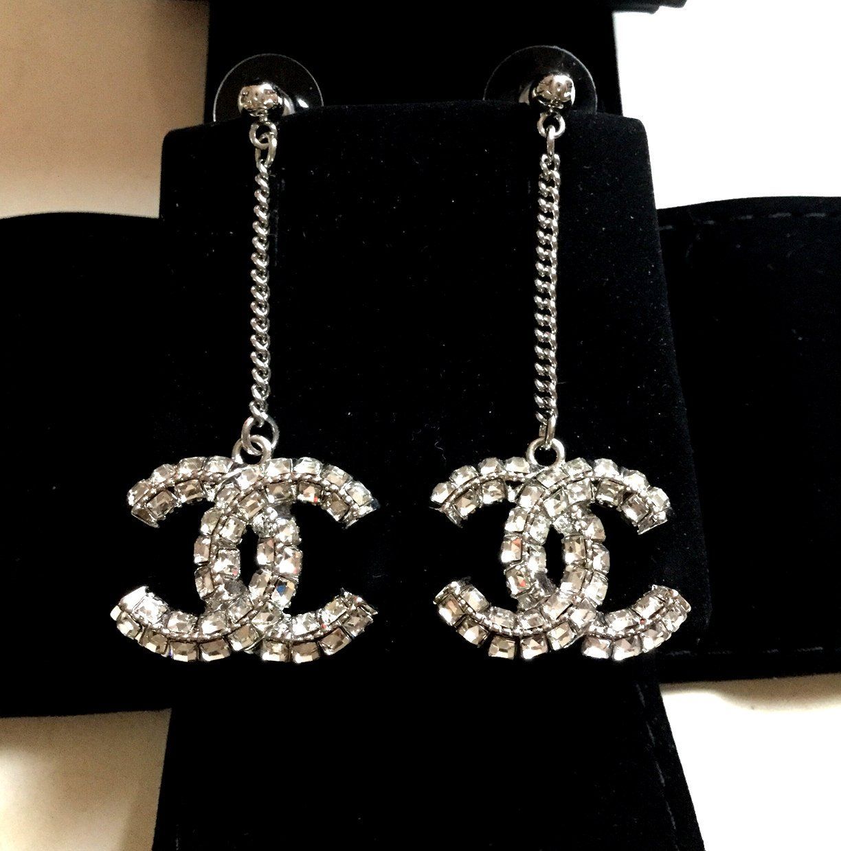 0c025bfdf67 CHANEL+Crystal+BAGUETTE+Drop+Dangle+Earrings+SILVER+Chain+Double-Sided+CC+ NIB