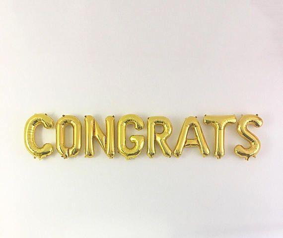 Congrats Gold Letter Balloons Graduation Balloons Graduation Party - congratulations letter