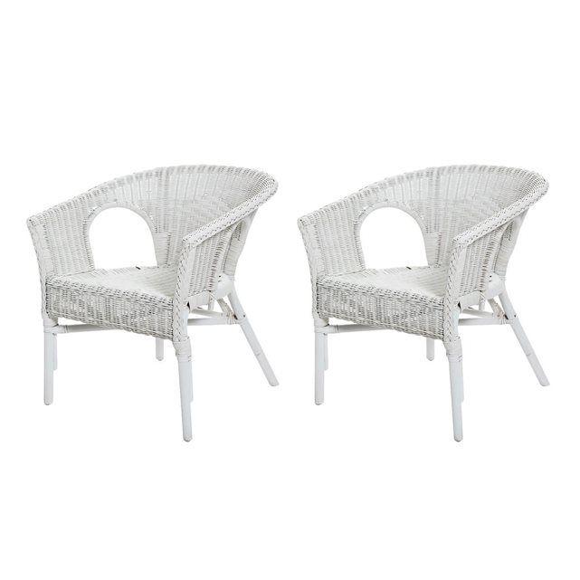 Lot De 2 Fauteuils Chris Couleur Blanc En Osier Fauteuil De Detente Rotin Design Wicker Armchair Wicker Chair Rattan Armchair