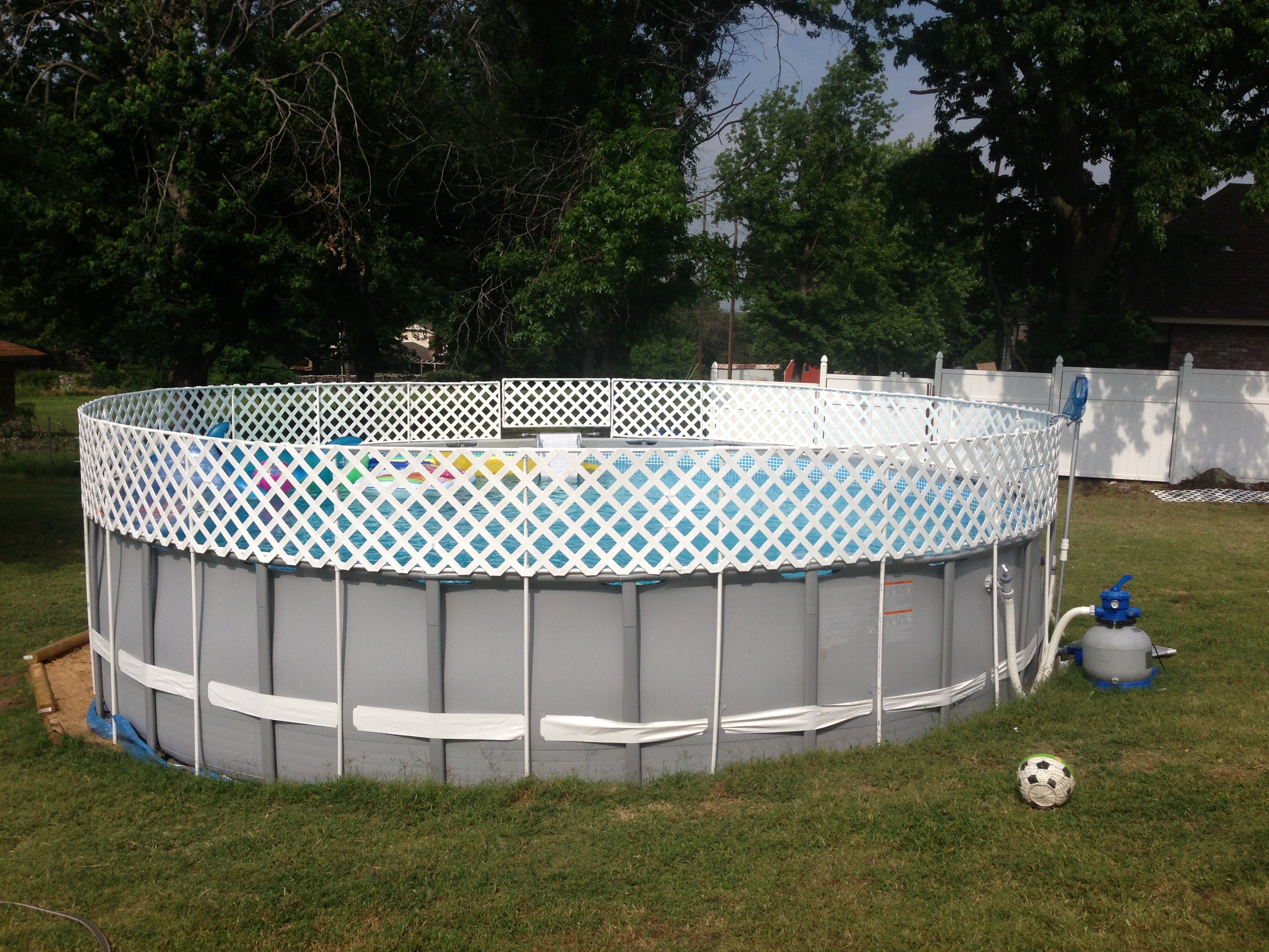 Above Ground Pool Fence above ground pool fence diy 1/2inch pvc pipe and white pvc lattice
