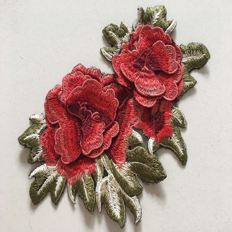 1pcs 3d Peony Embroidered Patches Flower Applique Organza Fabric Patches Sew On Robe Clothes Dress Patches Acc Flower Applique Embroidered Patches Fabric Patch