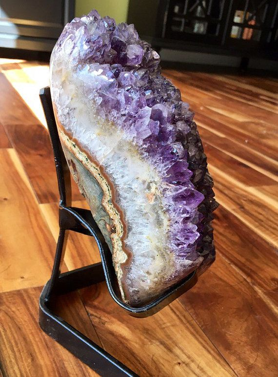 Raw Amethyst Cluster With Metal Stand Raw Amethyst Crystal Etsy Amethyst Cluster Amethyst Crystal Amethyst Geode