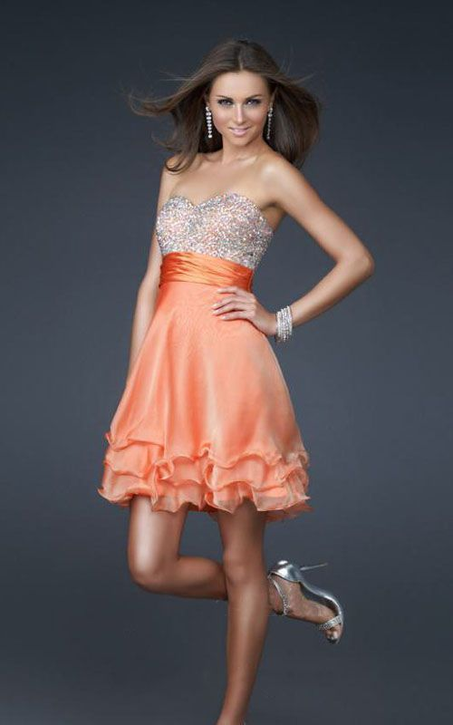 Orange Shimmering Strapless Layered Cocktail Dress | cute clothes ...