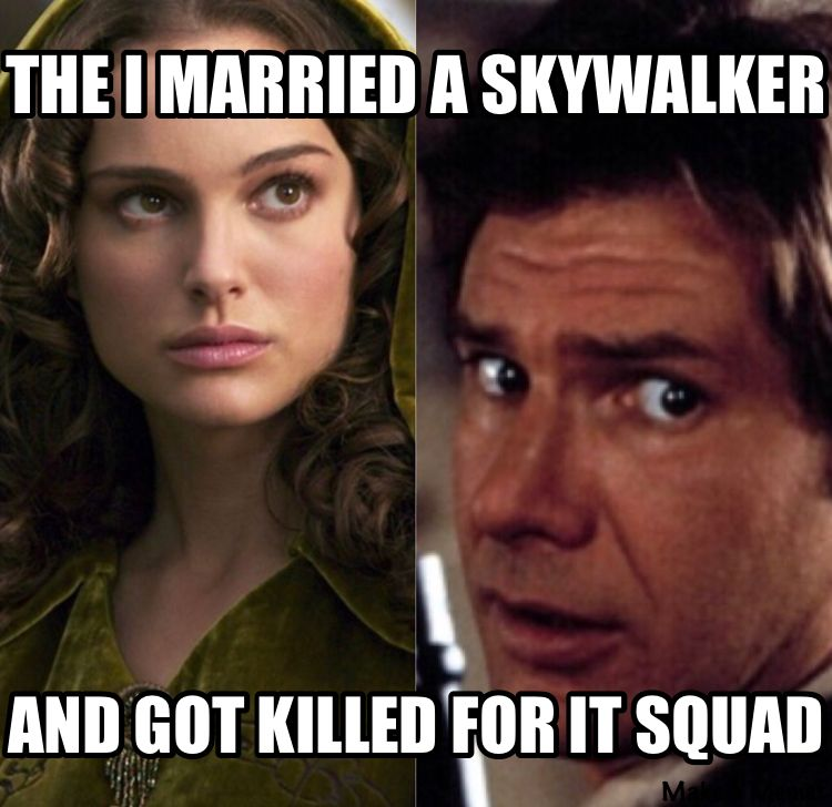The I Married A Skywalker And Got Killed For It Squad Star Wars Memes Star Wars Humor Star Wars Movie