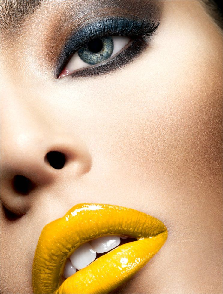 Blue Grey Eyeshadow With Bright Yellow Lips Yellow Lipstick