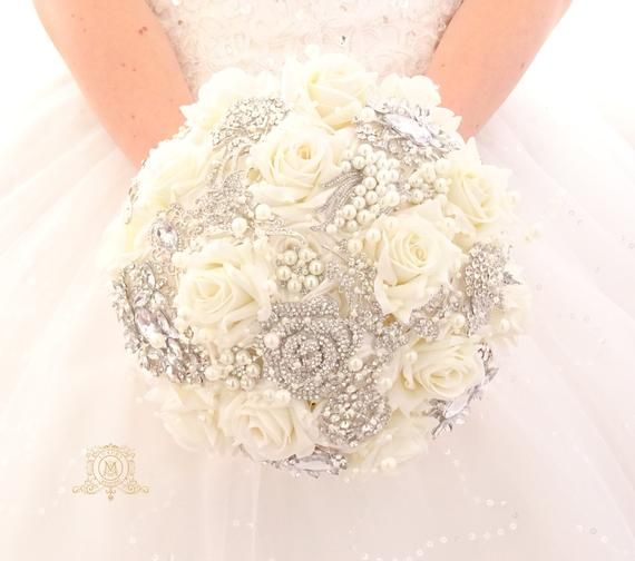 Brooch Bouquet Ivory Or White Color Silver Jeweled With Crystals