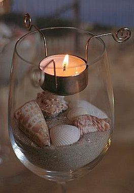 Wine Gl Tea Light Candle Holder Set
