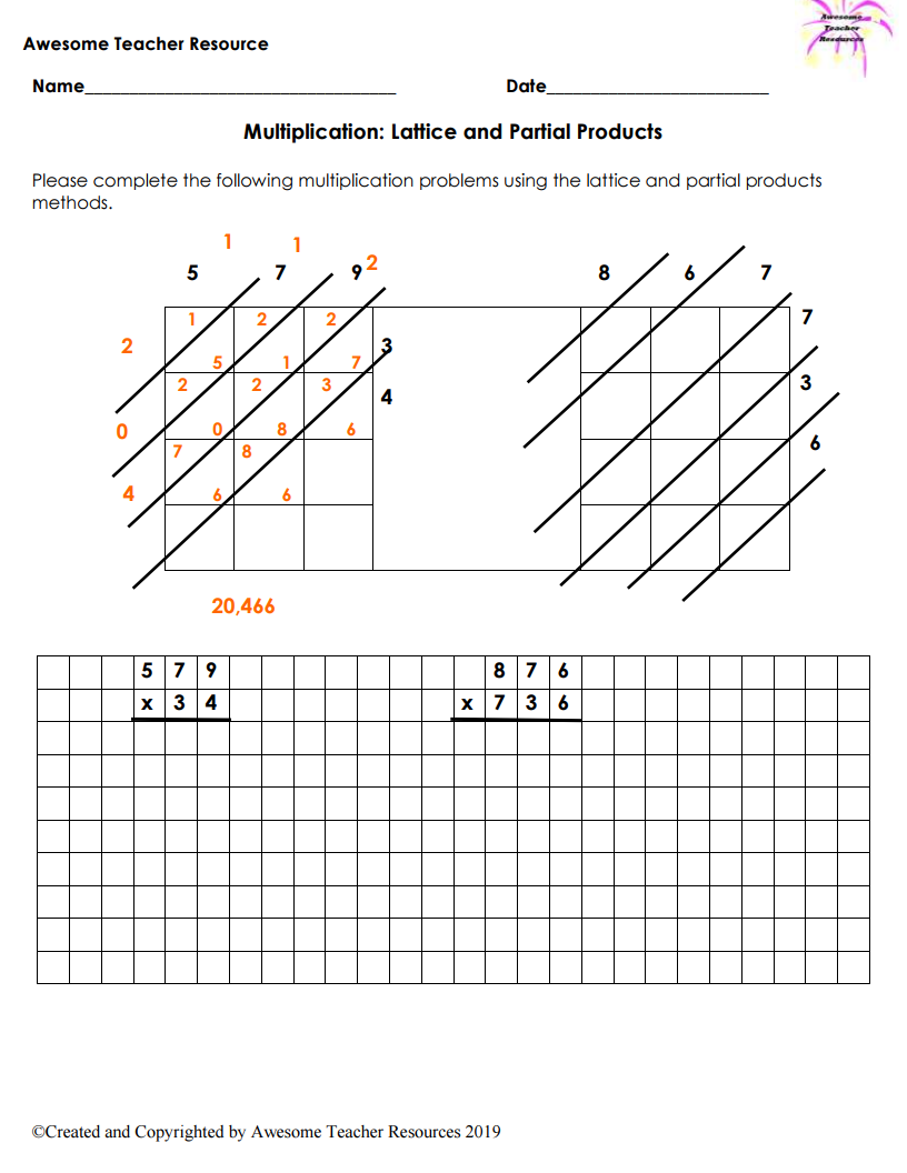 Partial Products and Lattice Multiplication   Multiplication worksheets [ 1056 x 816 Pixel ]