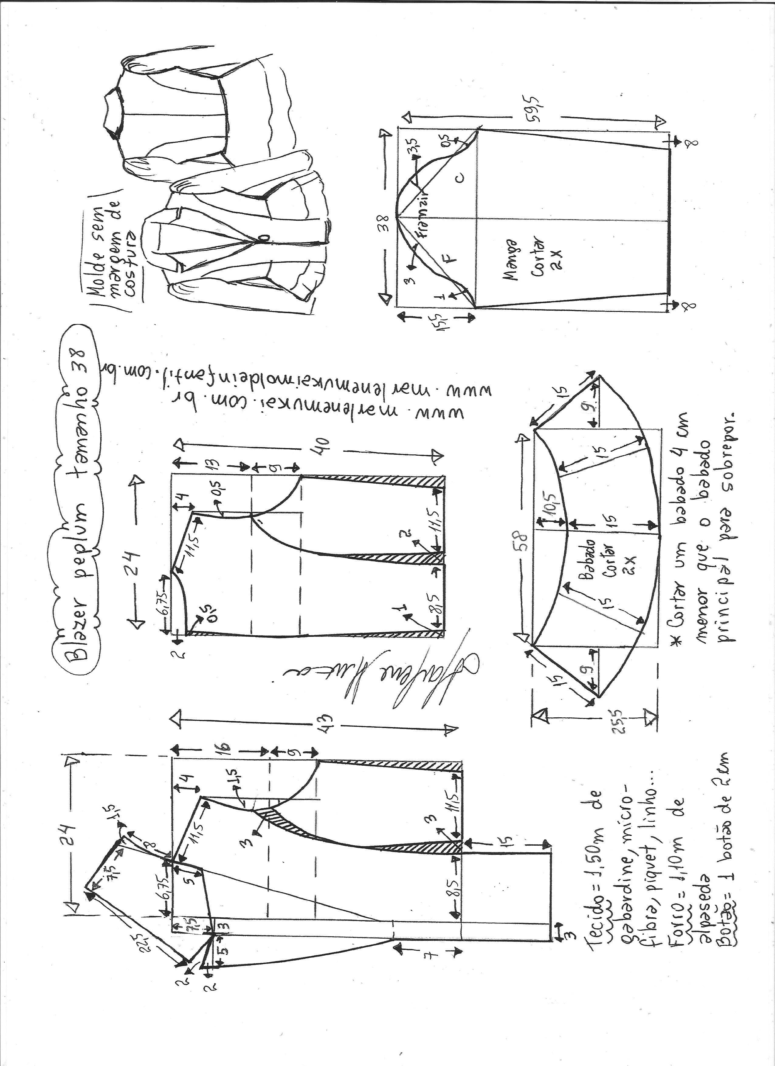 Blazer peplum | Blazers, Clothing patterns and Patterns