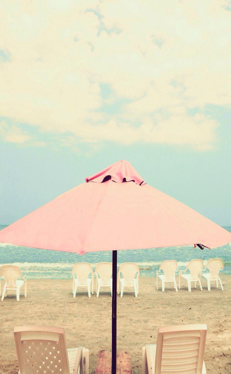Pastel Pink Aqua Mint Beach Umbrella Ocean Sea View Clouds
