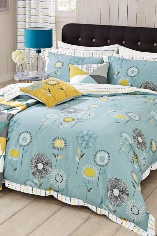 Next Teal Retro Floral Cotton Rich Bed Set Next