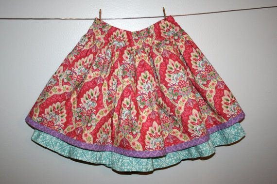 Double Dutch Skirt in Pink - Girls Double Layer Twirl Skirt With Drop Waist
