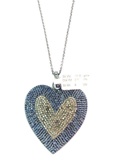 Pave diamond and genuine blue sapphire heart pendant necklace pave diamond and genuine blue sapphire heart pendant necklace diamond heart necklace blue sapphire aloadofball Image collections