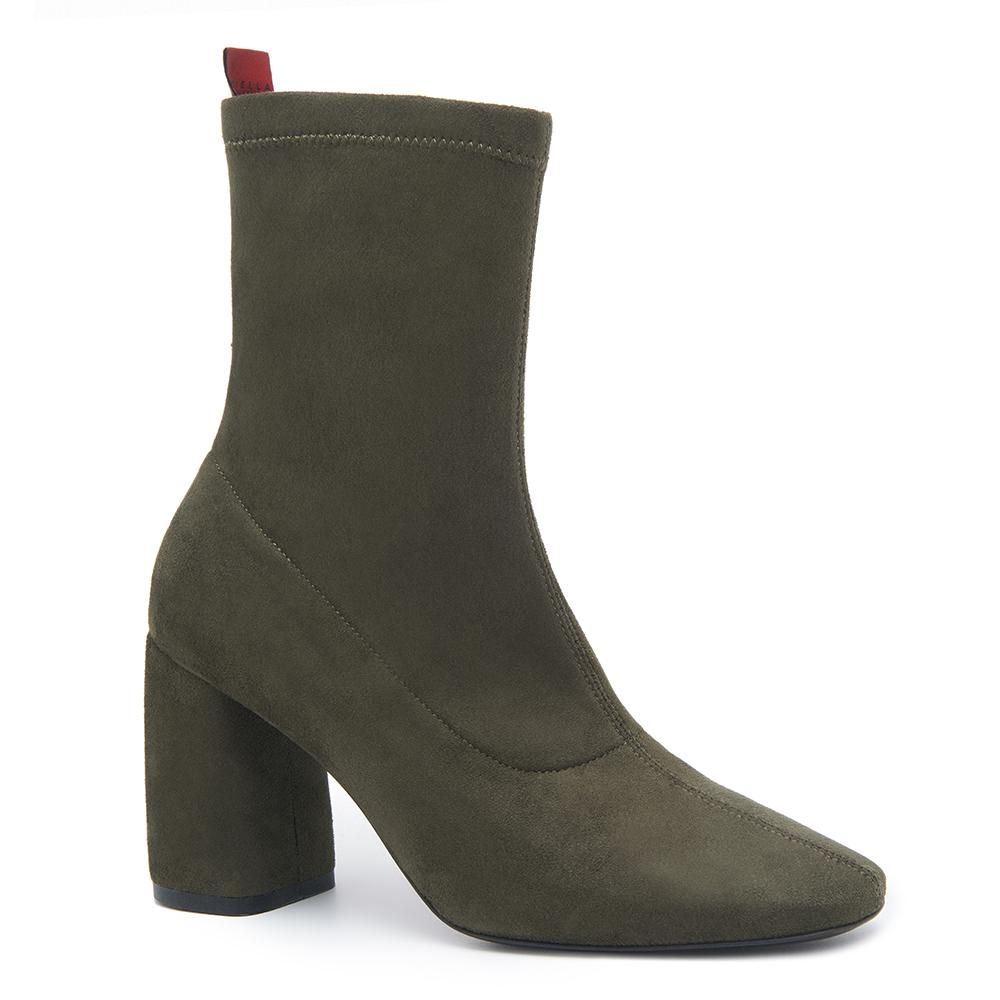 2e7a968e68 BellaMia Olive Green Suede Stretch Leather Boot with Microfleece Lining
