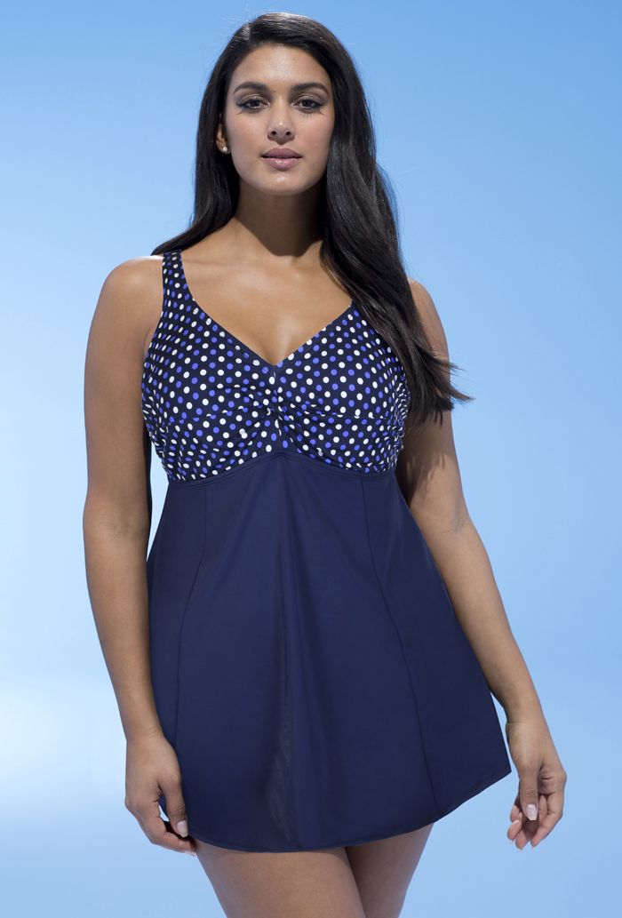 Swimsuits For All Womens Plus Size Two-Piece Swim Dress