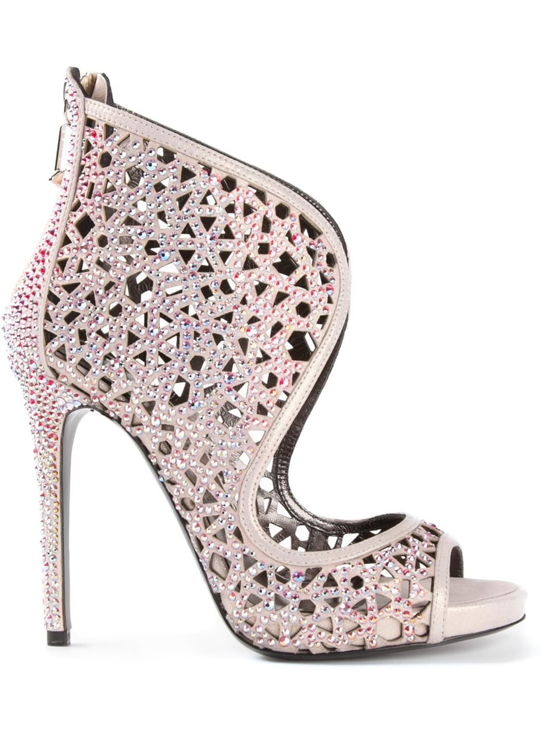 Pink dress shoes for ladies  Pink leather embellished sandals from Philipp Plein featuring an